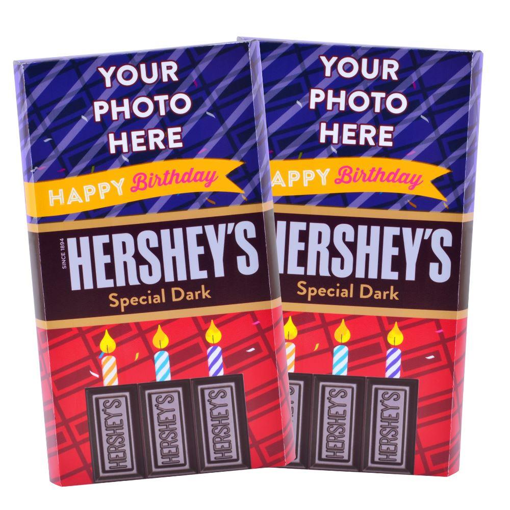 Red Happy Birthday Design<br>Personalized HERSHEY'S Giant Special Dark Candy Bar<br>(2 pack)