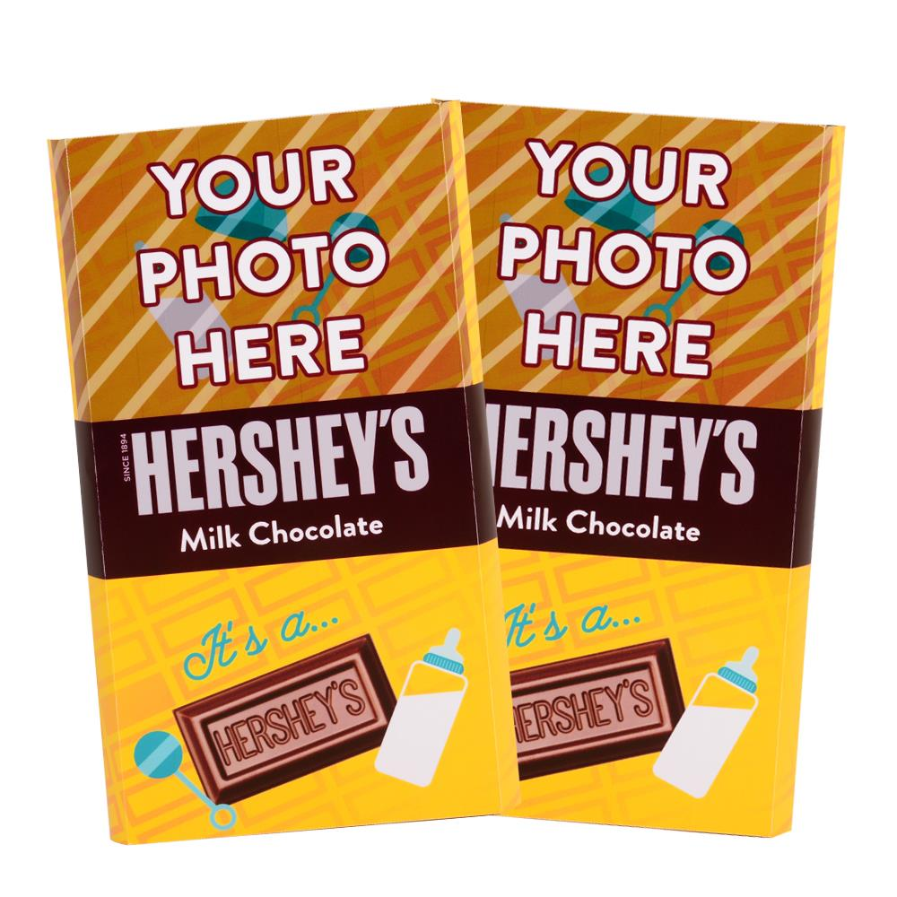 Baby Announcement Yellow Design<br>Personalized HERSHEY'S Giant Milk Chocolate Bar<br>(2 pack)