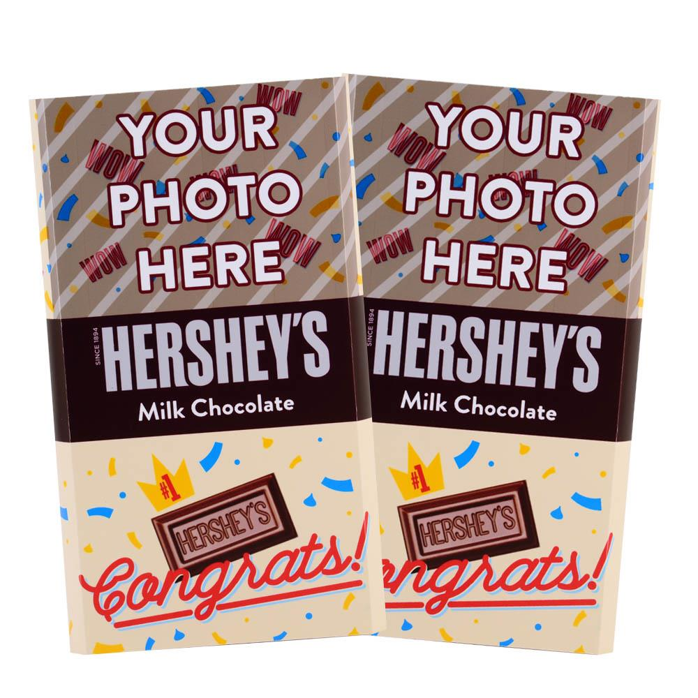 Congrats Confetti Design<br>Personalized HERSHEY'S Giant Milk Chocolate Bar<br>(2 pack)