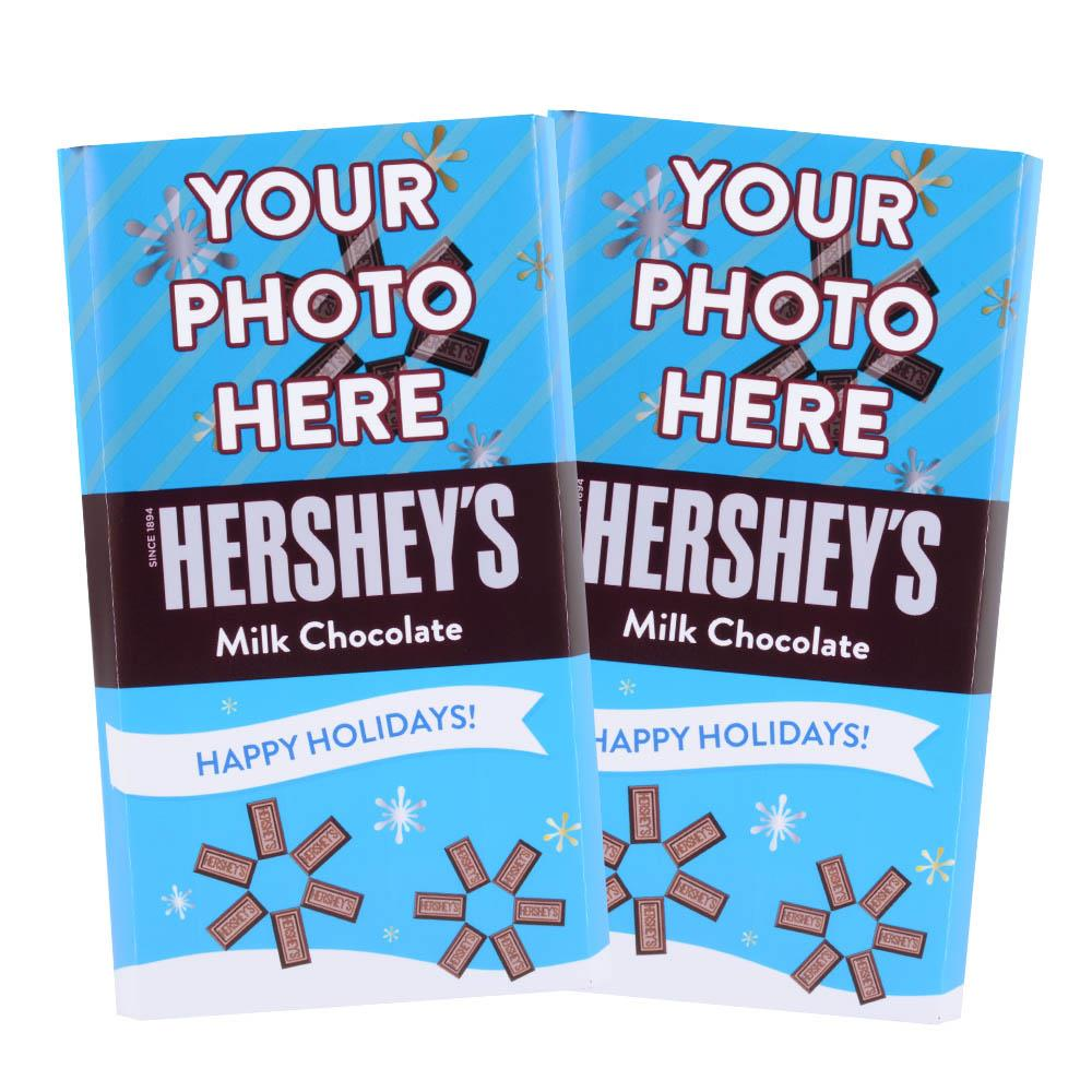 Happy Holidays Blue Design<br>Personalized HERSHEY'S Giant Milk Chocolate Bar<br>(2 pack)