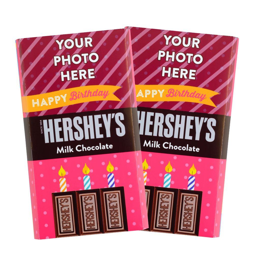 Pink Happy Birthday Design<br>Personalized HERSHEY'S Giant Milk Chocolate Bar<br>(2 pack)