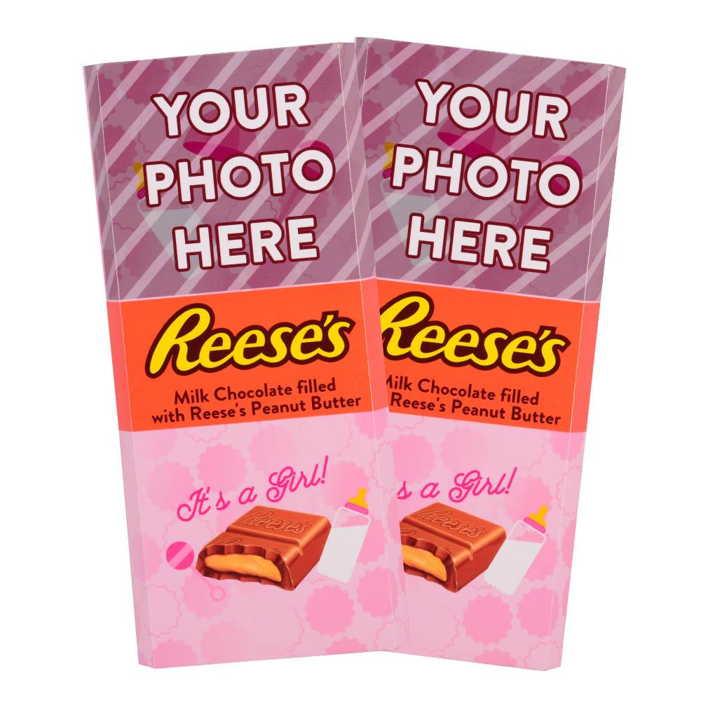 Baby Announcement Pink Design<br>Personalized REESE'S Giant Peanut Butter Filled Bars<br>(2 Pack)