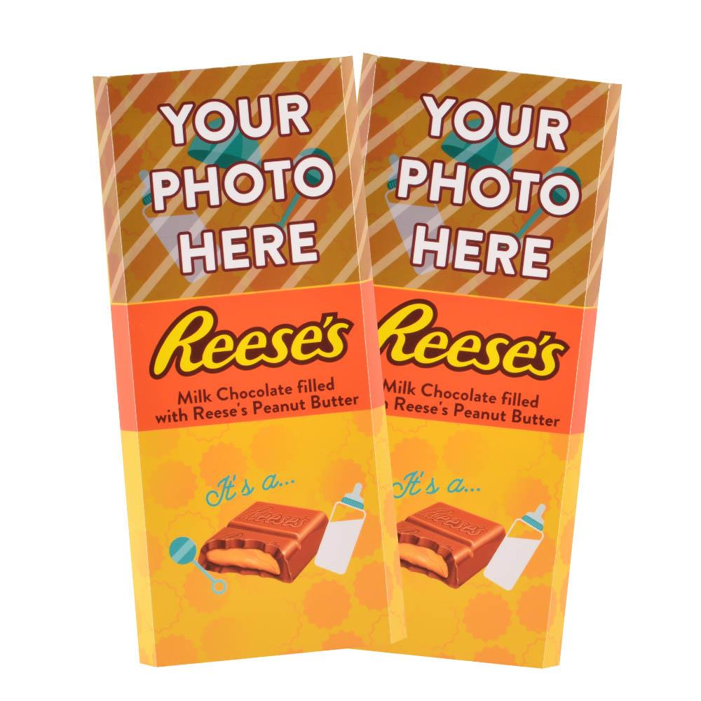Baby Announcement Yellow Design<br>Personalized REESE'S Giant Peanut Butter Filled Bars<br>(2 Pack)