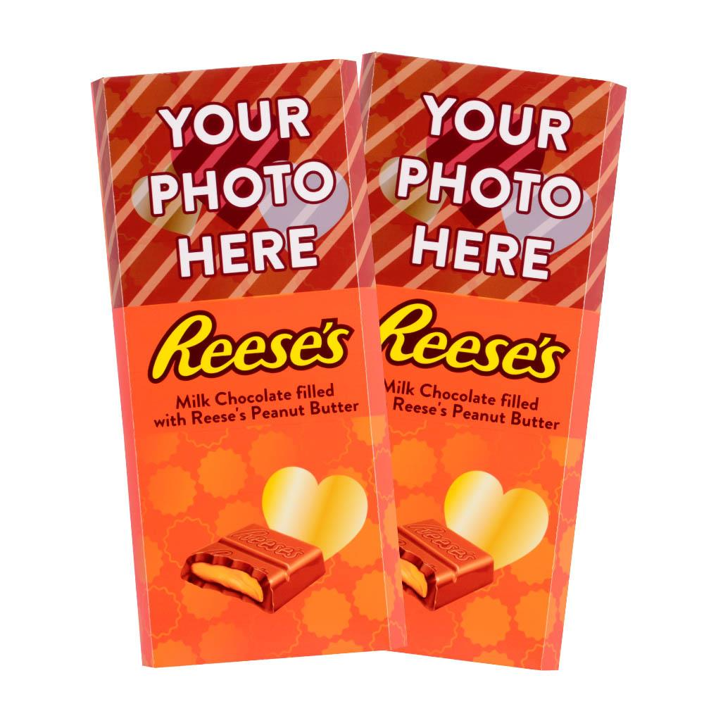 Gold Heart Design<br>Personalized REESE'S Giant Peanut Butter Filled Bars<br>(2 Pack)