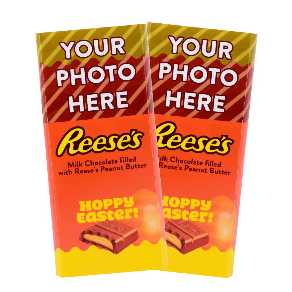 Hoppy Easter Design<br>Personalized REESE'S Giant Peanut Butter Filled Bars<br>(2 Pack)
