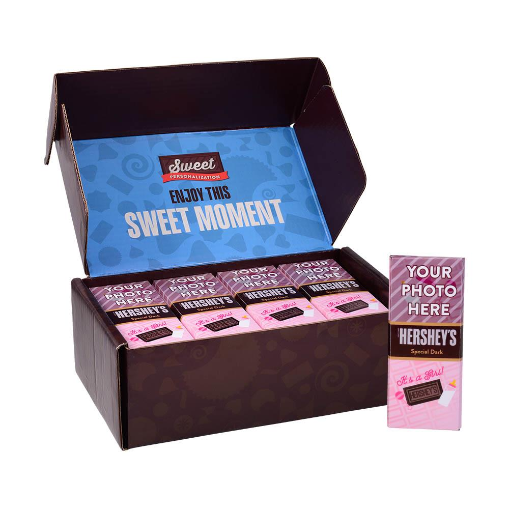 Baby Announcement Pink Design<br>Personalized HERSHEY'S 1.45oz Special Dark Candy Bar<br>(36 pack)